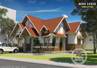 Phối cảnh 3D ngoại thất mẫu thiết kế nhà đẹp 1 tầng độc đáo.