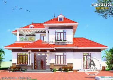 Thiết kế biệt thự 2 tầng mái thái đỏ tại Bắc Giang
