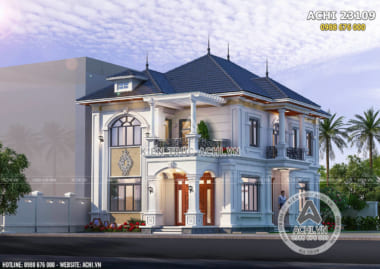 Không gian ngoại thất 3D mẫu nhà 2 tầng mặt tiền 8m đẹp 4 phòng ngủ - Mã số: ACHI 23109