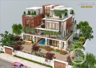 Không gian mở của mẫu thiết kế biệt thự song lập hiện đại