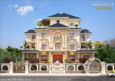Mặt tiền mẫu thiết kế biệt thự mái thái 3 tầng đẹp tại Quảng Ninh