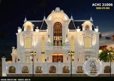 Phối cảnh 3D bản thiết kế biệt thự tân cổ điển đẹp 3 tầng – Mã số: ACHI21006