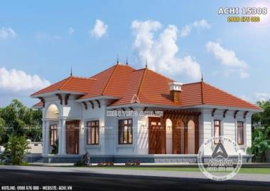 Hình ảnh: Không gian mẫu mặt tiền mẫu nhà biệt thự mái Thái cấp 4 đẹp 1 tầng – Mã số: ACHI 15308