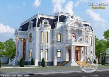 Hình ảnh: Mẫu thiết kế nhà vuông 2 tầng tân cổ điển đẹp – ACHI 20018