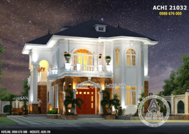Phối cảnh 3D mặt tiền của mẫu biệt thự tân cổ điển 2 tầng đẹp
