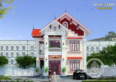 Mặt tiền mẫu nhà 2 tầng tân phong cách tân cổ điển sang trọng