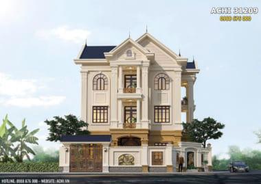 Mẫu nhà tân cổ điển 3 tầng với mái thái đơn giản