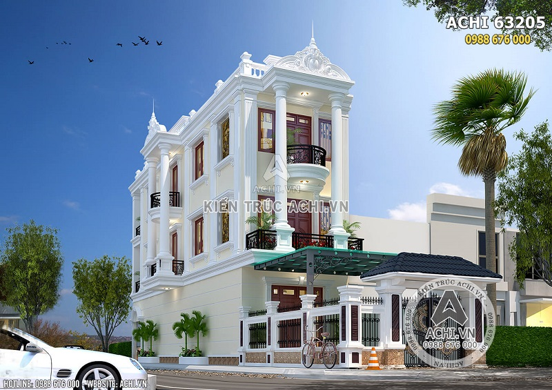 Hình ảnh: Mẫu thiết kế nhà phố tân cổ điển 3 tầng đẹp tại Thái Bình – ACHI 63205
