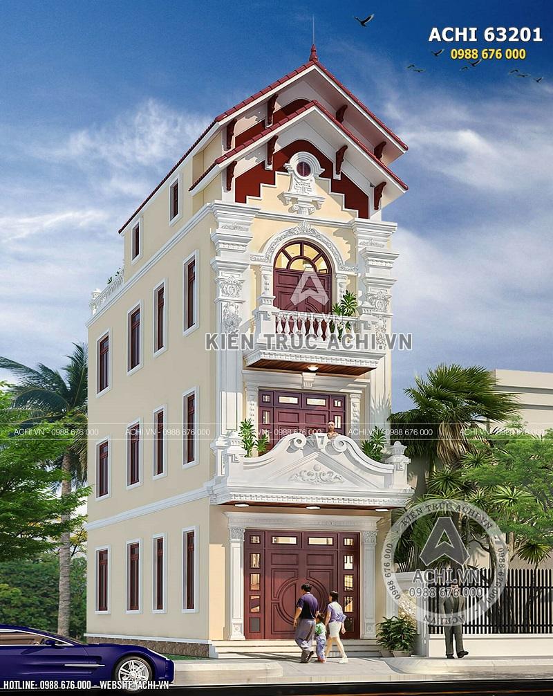 Hình ảnh: Góc view cận cảnh kiến trúc nhà ống 4 tầng kiến trúc tân cổ điển diện tích 90m2 tại Nam Định