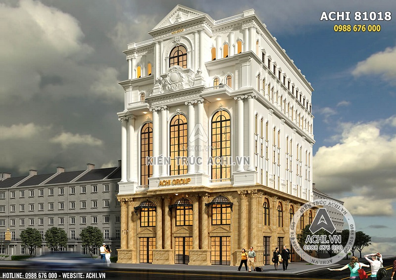 Hình ảnh: Mẫu thiết kế văn phòng khách sạn 4 sao mặt tiền 20m – ACHI 81018