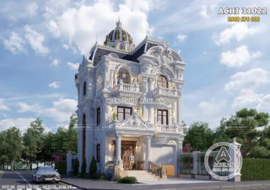 Hình ảnh: Không gian ngoại thất đẹp của mẫu biệt thự Pháp 3 tầng mặt tiền 10m– Mã số: ACHI 31022