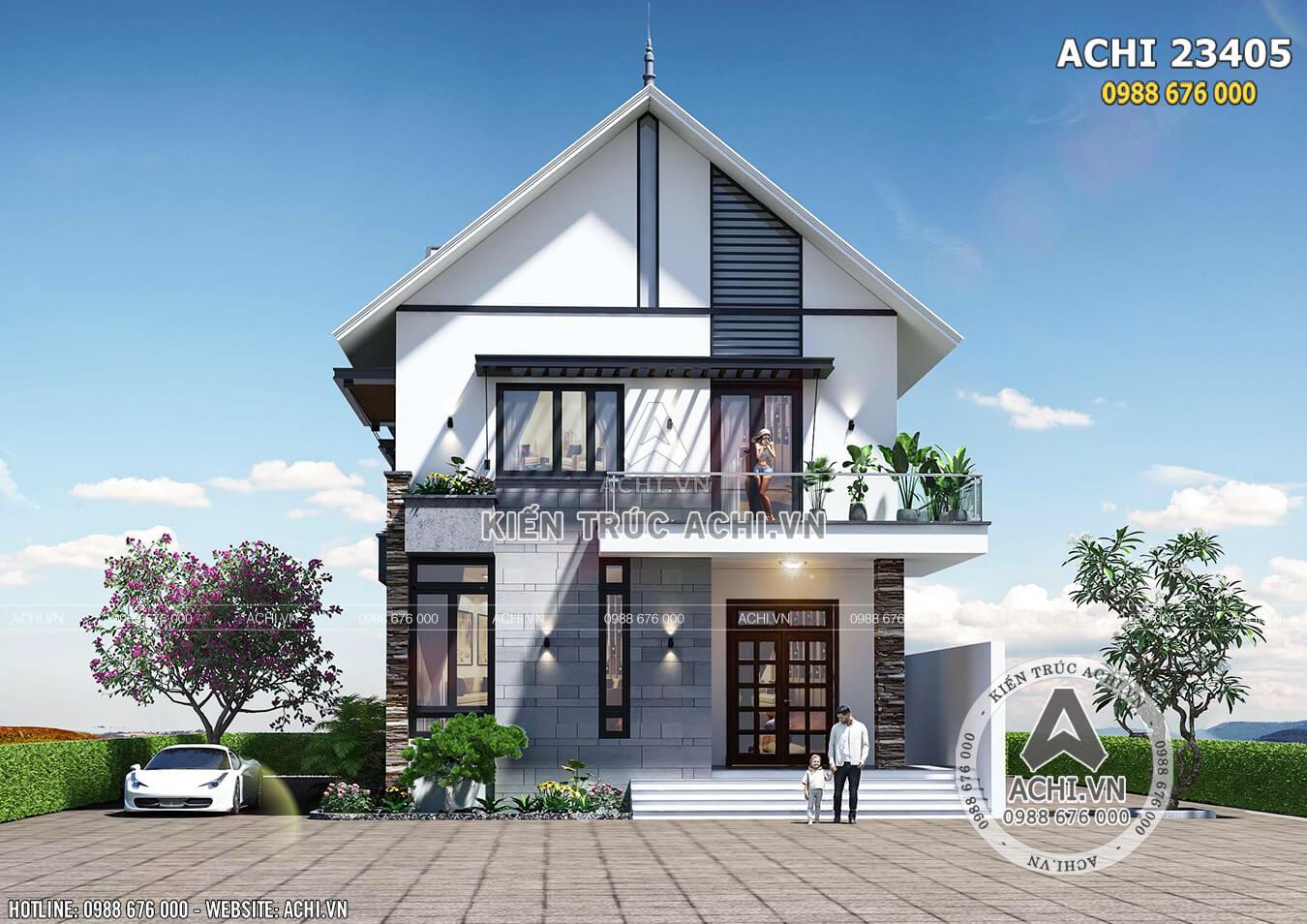 Hình ảnh: Phối cảnh 3D ngoại thất biệt thự 2 tầng– Mã số: ACHI 23405