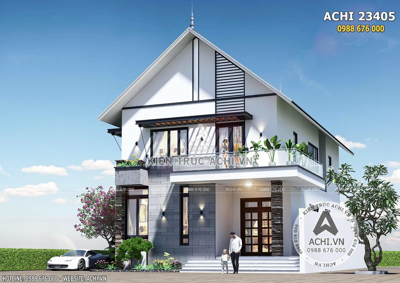 Hình ảnh: Một góc view mẫu biệt thự hiện đại kiến trúc Châu Âu– Mã số: ACHI 23405