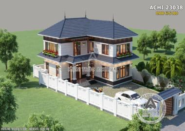 Hình ảnh: Không gian ngoại thất mẫu biệt thự hai tầng mái Thái tại Vĩnh Phúc ACHI 23038 Hình ảnh: Mẫu biệt thự mái Thái hình chữ L khi nhìn từ ngoài vào ACHI 23038