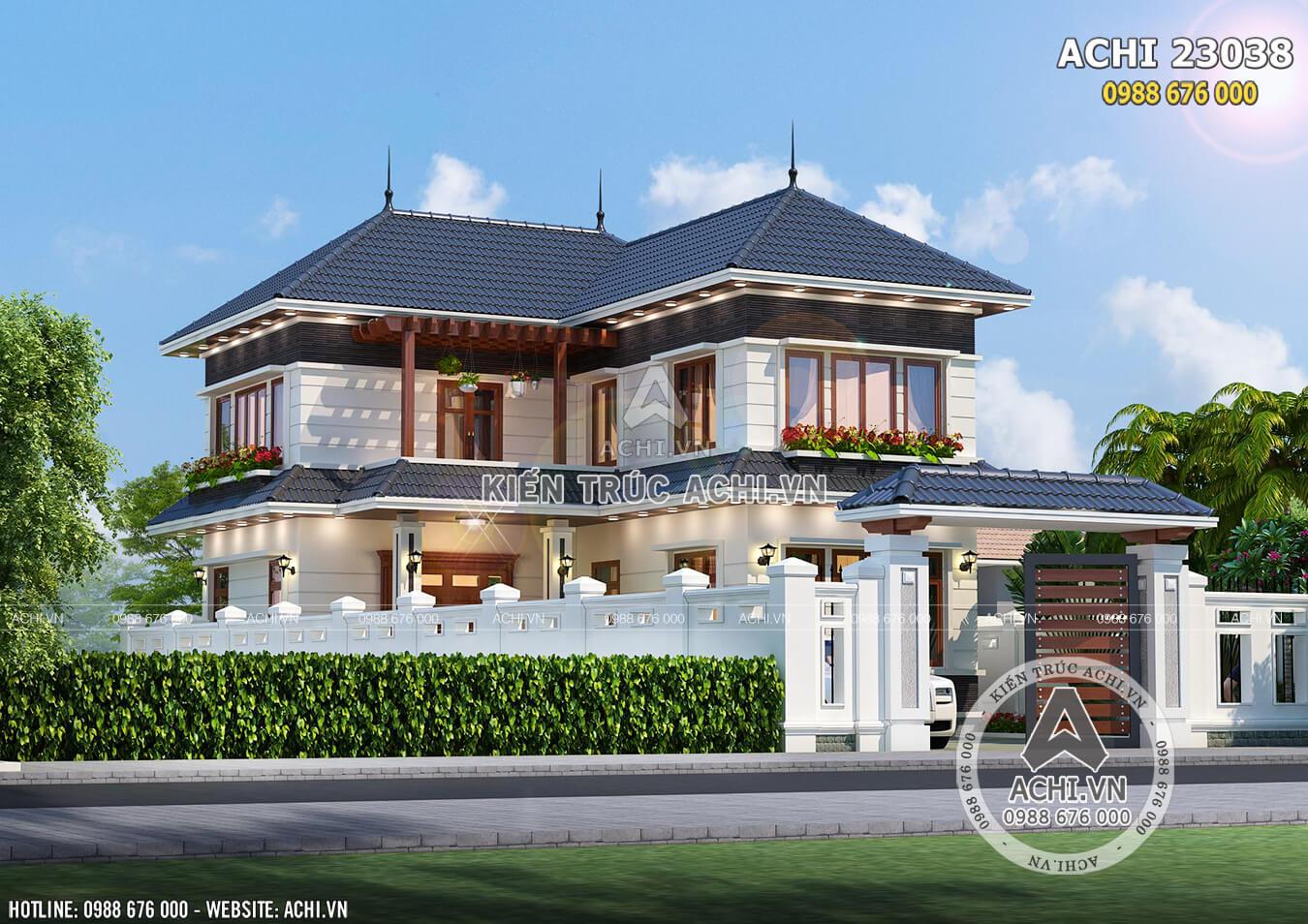Hình ảnh: Không gian ngoại thất mẫu biệt thự mái Thái ACHI 23038