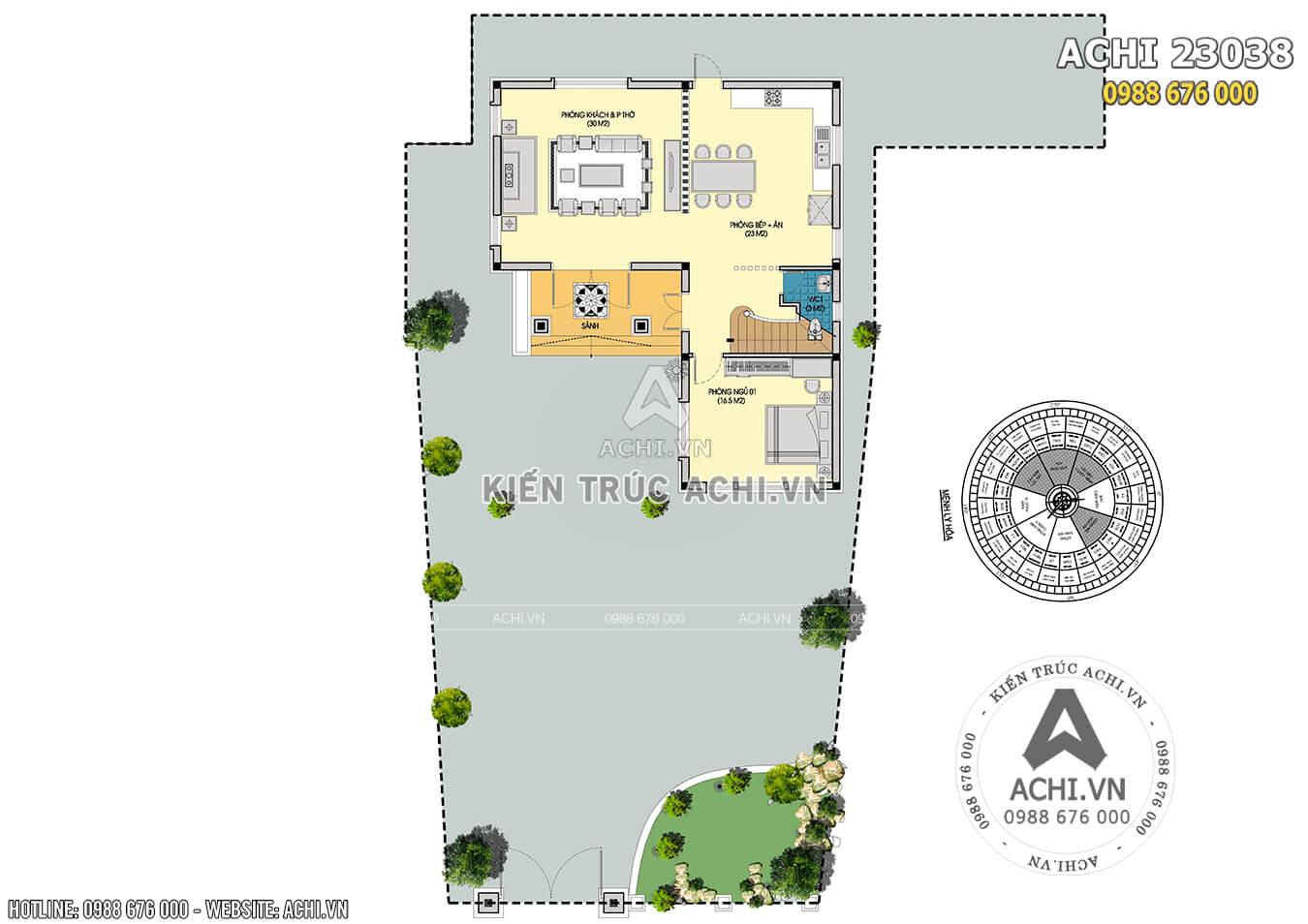 Hình ảnh: Mặt bằng tổng thể tầng 1 và cảnh quan sân vườn mẫu biệt thự ACHI 23038