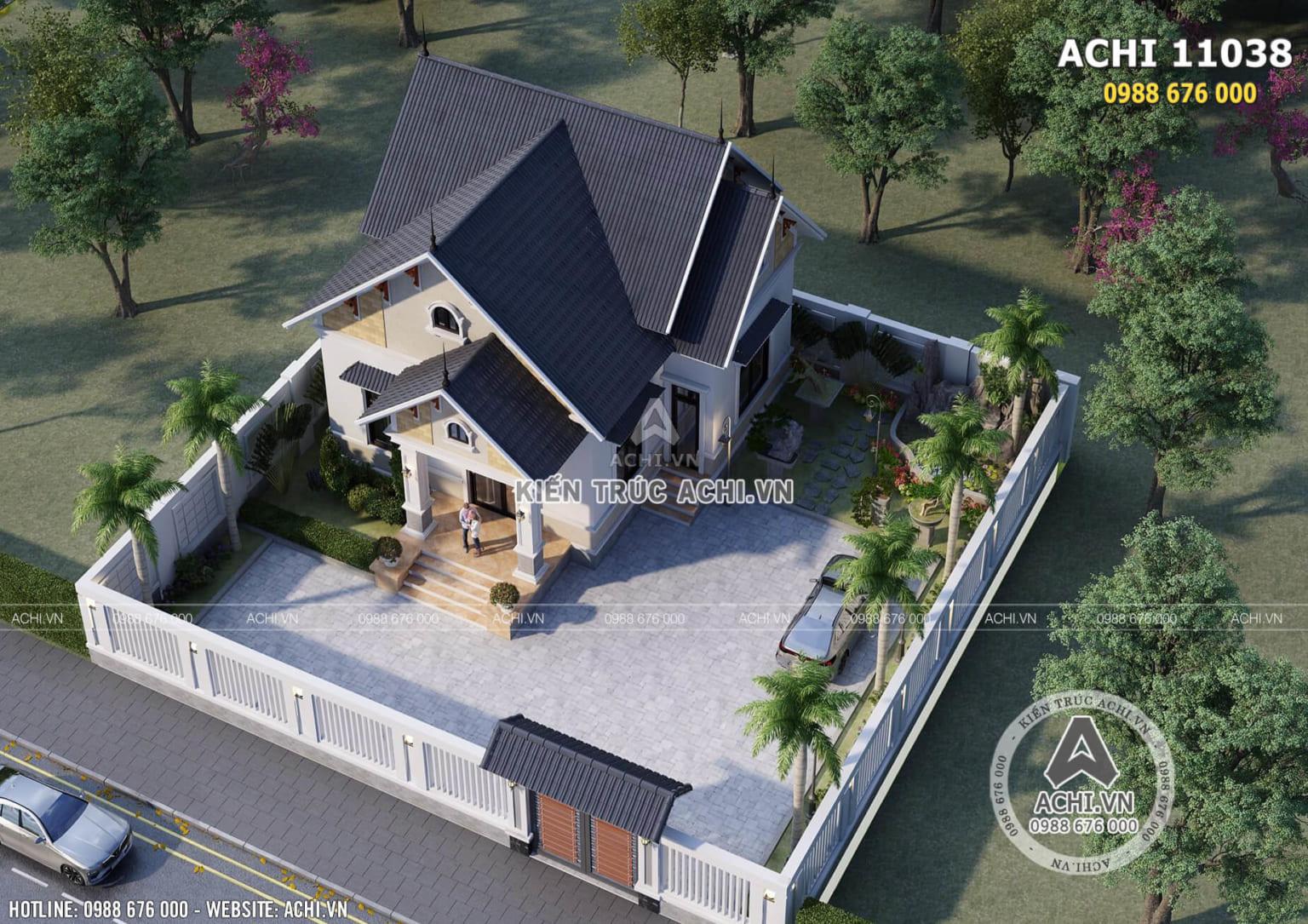 Hình ảnh: Toàn cảnh thiết kế nhà cấp 4 3 phòng ngủ khi nhìn từ trên cao – ACHI 11038