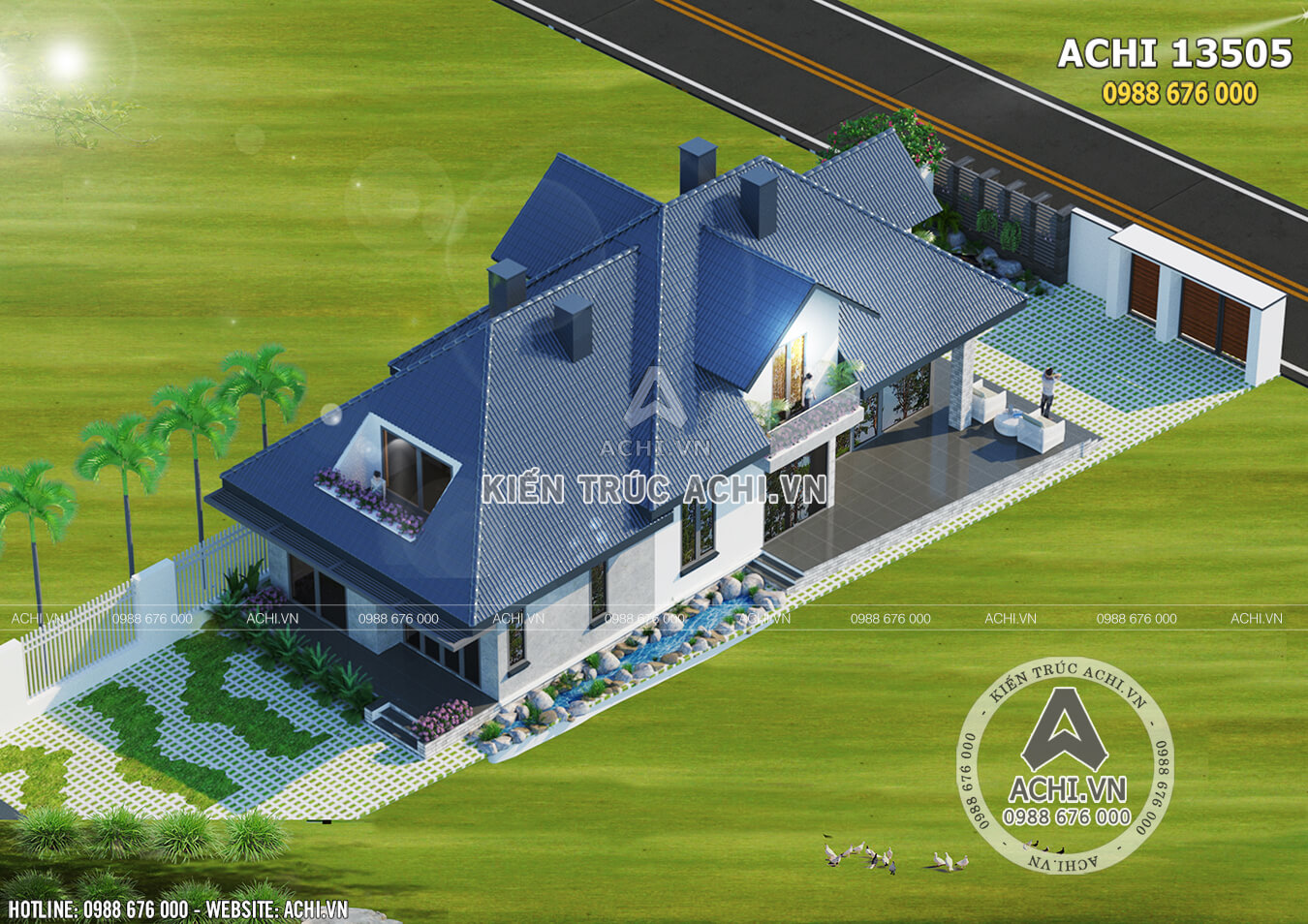 Hình ảnh: Mẫu nhà mái thái 1,5 tầng nhìn từ trên cao– ACHI 13505