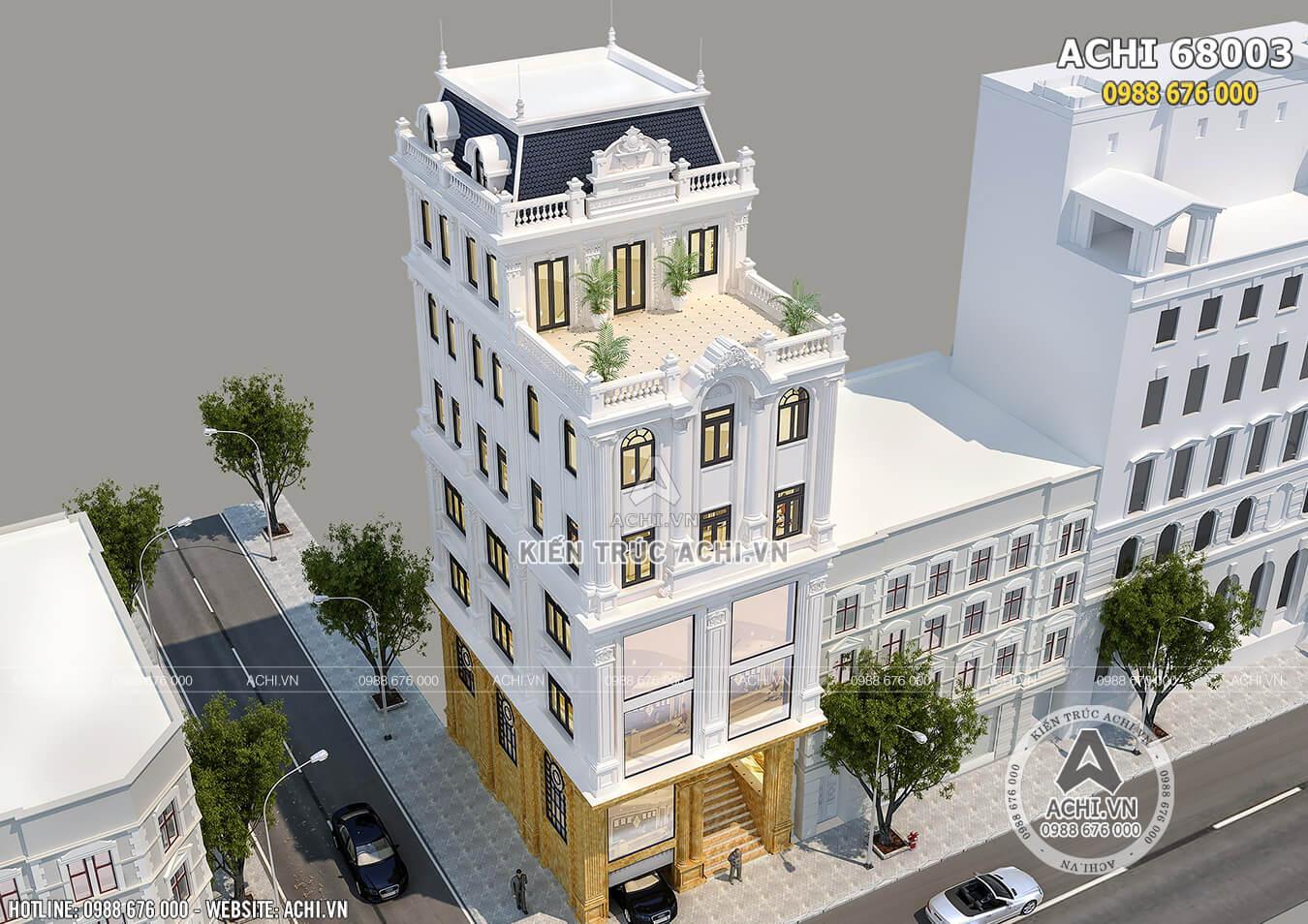 Hình ảnh: Mẫu nhà phố kiến trúc tân cổ điển nhìn từ trên cao– ACHI 68003