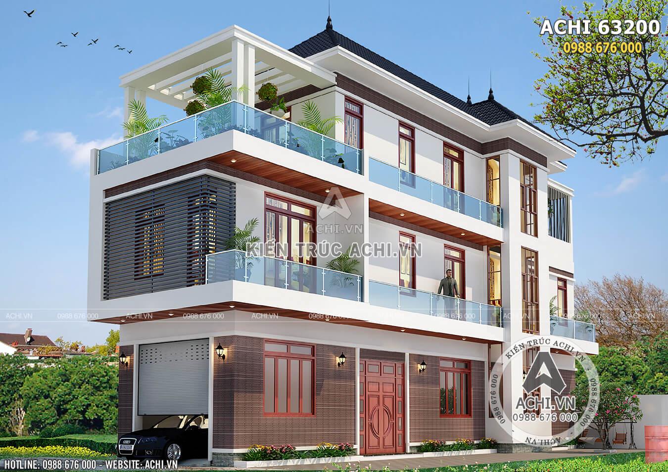 Hình ảnh: Không gian ngoại thất của mẫu thiết kế biệt thự 3 tầng hiện đại– ACHI 63200