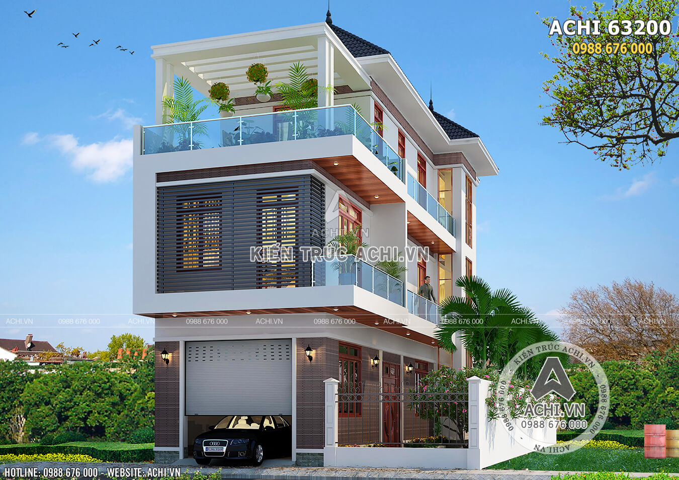 Hình ảnh: Mặt tiền mẫu thiết kế nhà 3 tầng hiện đại– ACHI 63200