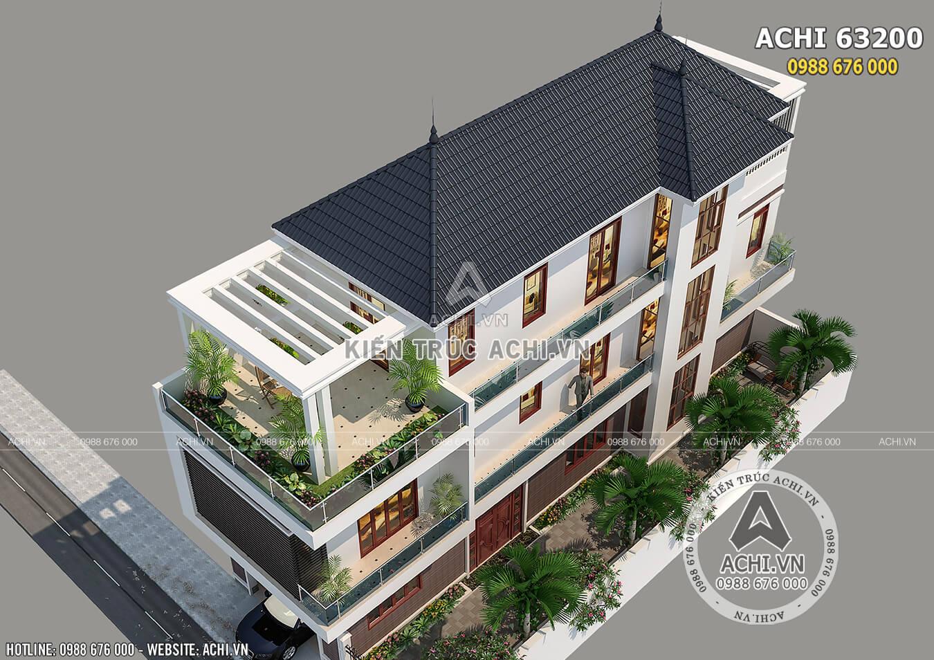 Hình ảnh: Một góc view trên cao của mẫu nhà 3 tầng – ACHI 63200