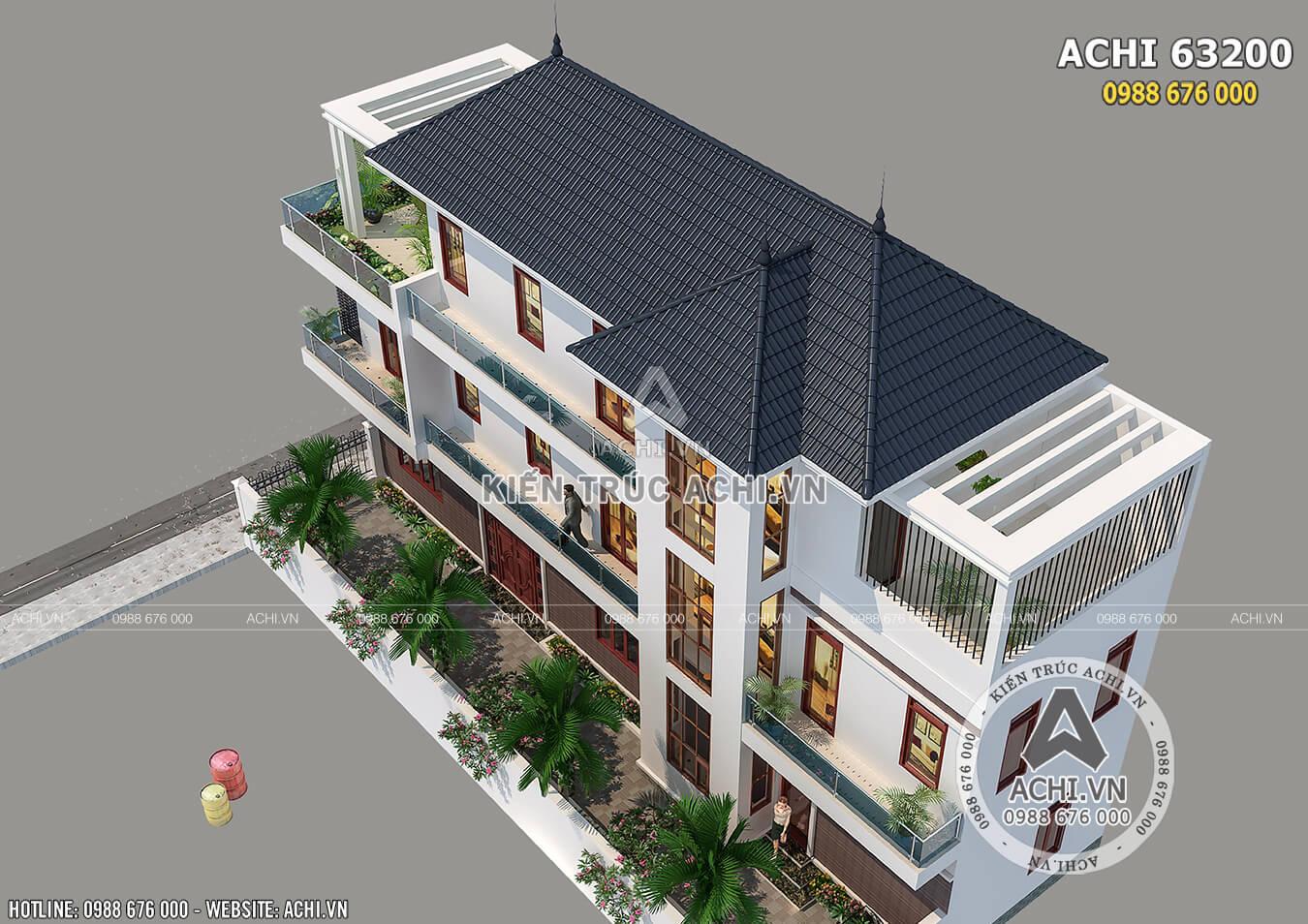 Hình ảnh: Mẫu biệt thự 3 tầng hiện đại mái Thái nhìn từ trên cao xuống– ACHI 63200