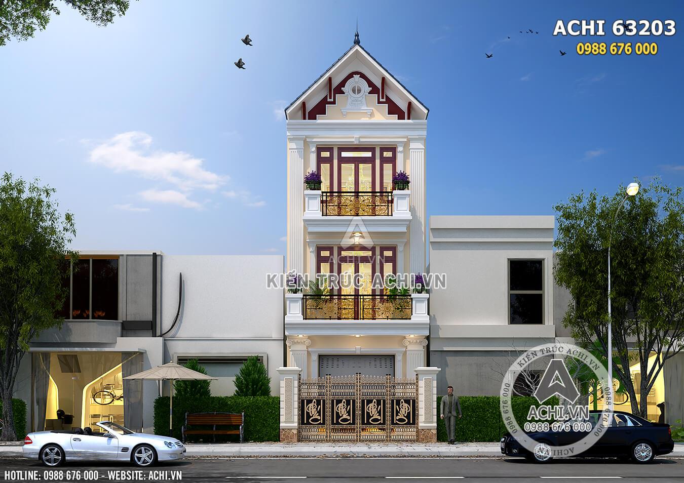 Hình ảnh: Phối cảnh 3D mẫu nhà phố tân cổ điển– Mã số: ACHI 63023