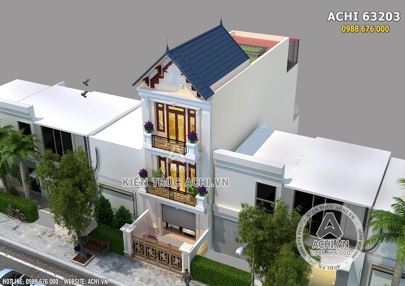 Hình ảnh: Mẫu thiết kế nhà phố 3 tầng tân cổ điển– Mã số: ACHI 63023