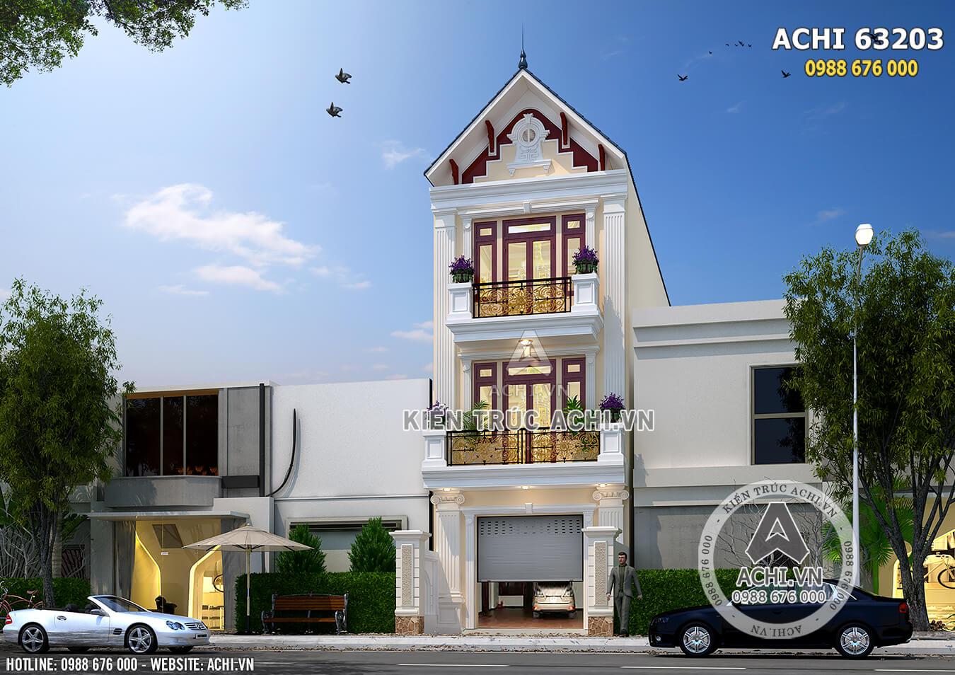 Hình ảnh: View phía sau mẫu nhà phố 3 tầng– Mã số: ACHI 63023