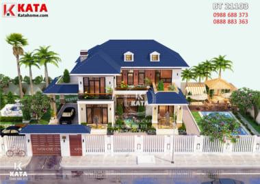 Tổng thể mẫu thiết kế nhà 2 tầng đẹp mái Thái khi nhìn từ trên xuống
