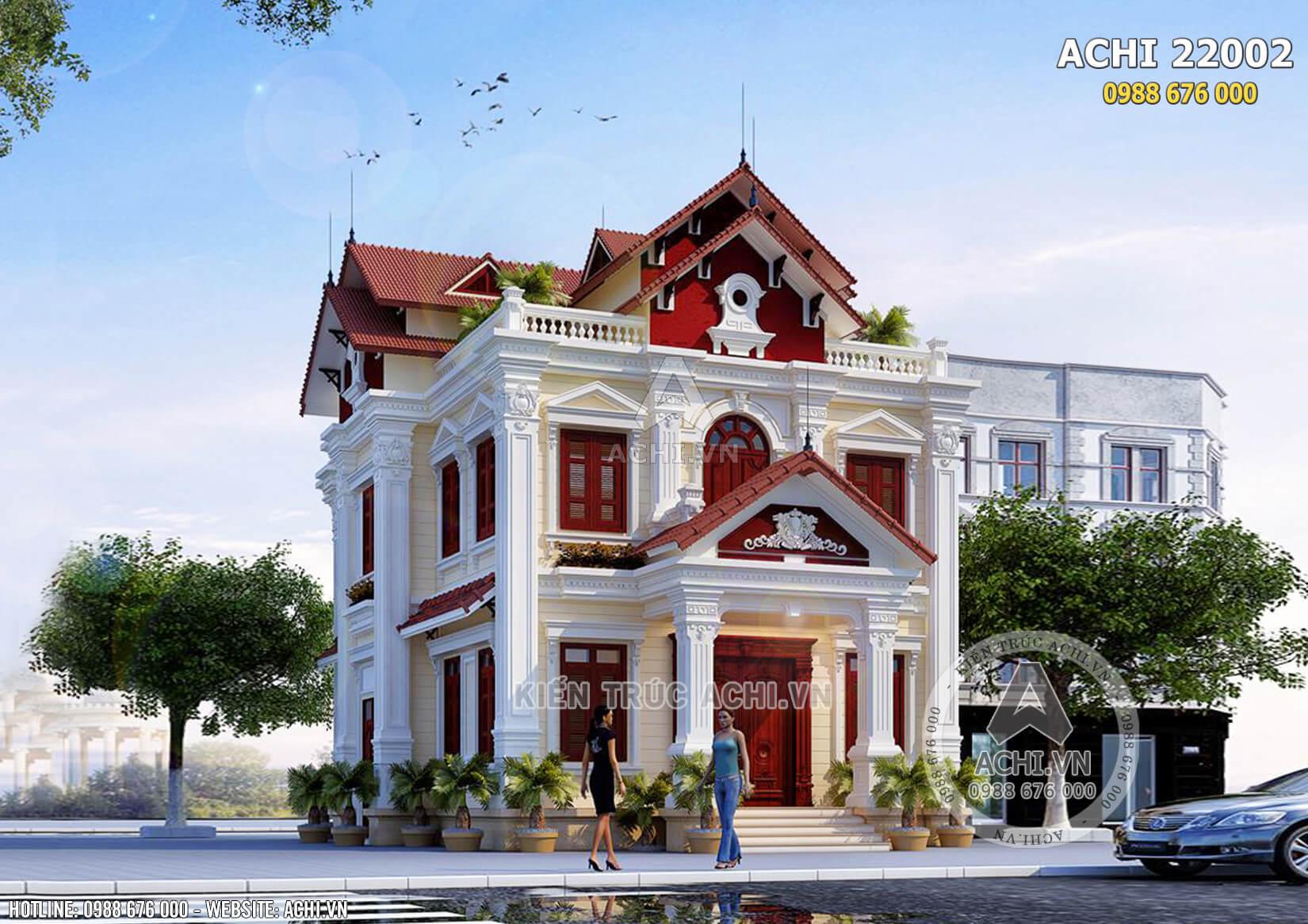 Hình ảnh: Phối cảnh tổng thể của mẫu biệt thự kiến trúc Pháp 2 tầng đẹp – Mã số: ACHI22002