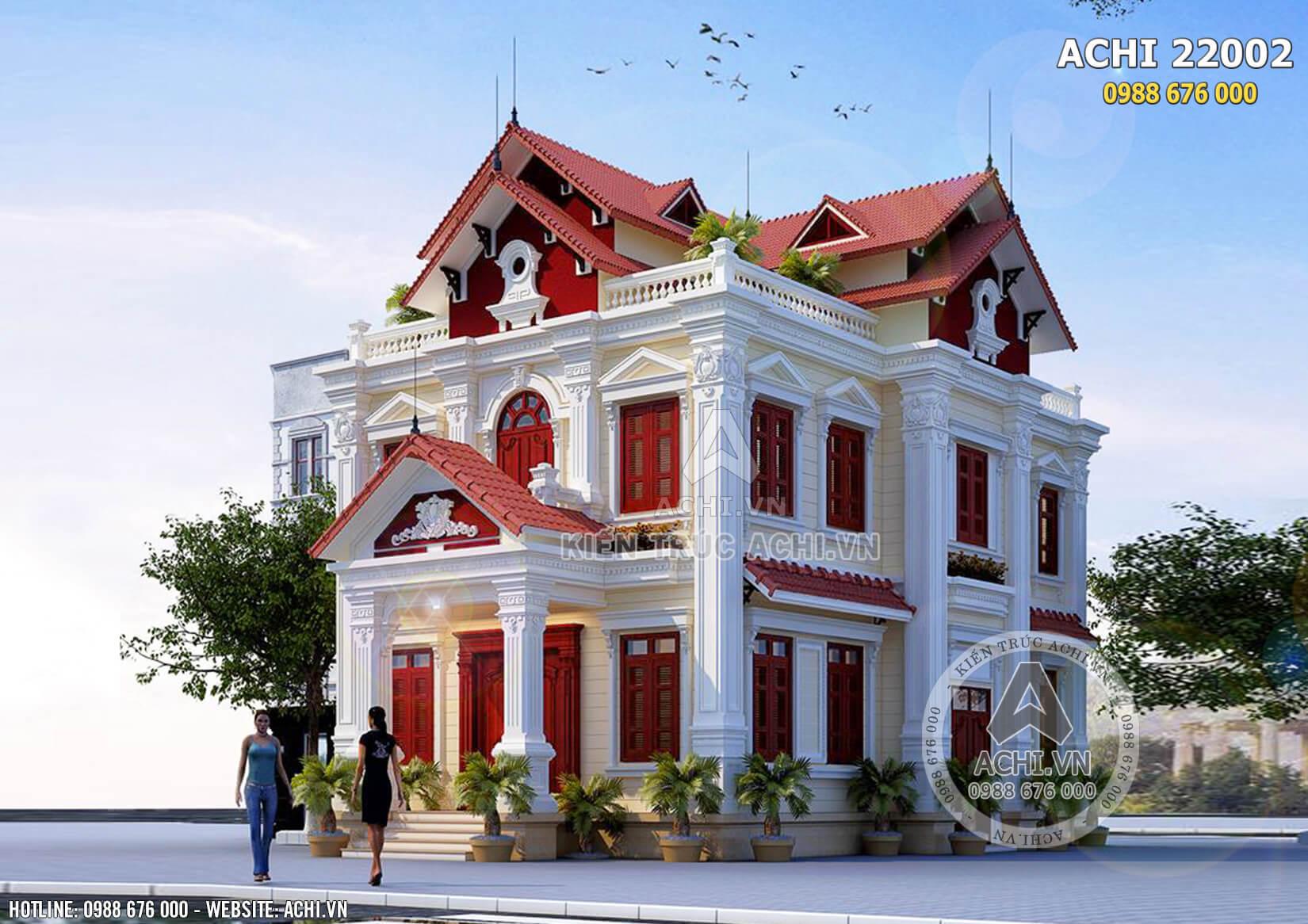 Hình ảnh: Phối cảnh tổng thể mẫu biệt thự kiến trúc Pháp 2 tầng đẹp – Mã số: AChi22002