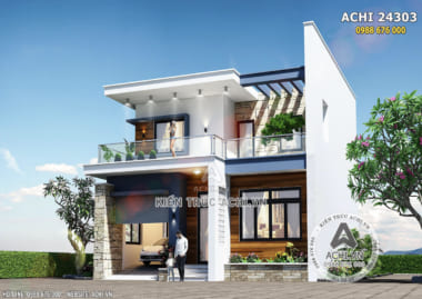 Hình ảnh: Phối cảnh 3D mặt tiền mẫu nhà 2 tầng hiện đại– Mã số: ACHI 24303