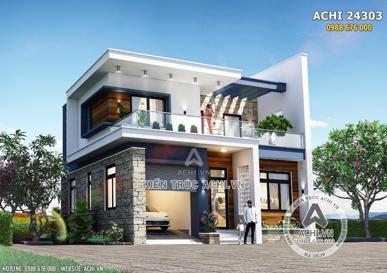 Hình ảnh: Mẫu nhà 2 tầng đơn giản hiện đại 600 triệu đồng – Mã số: ACHI 24303