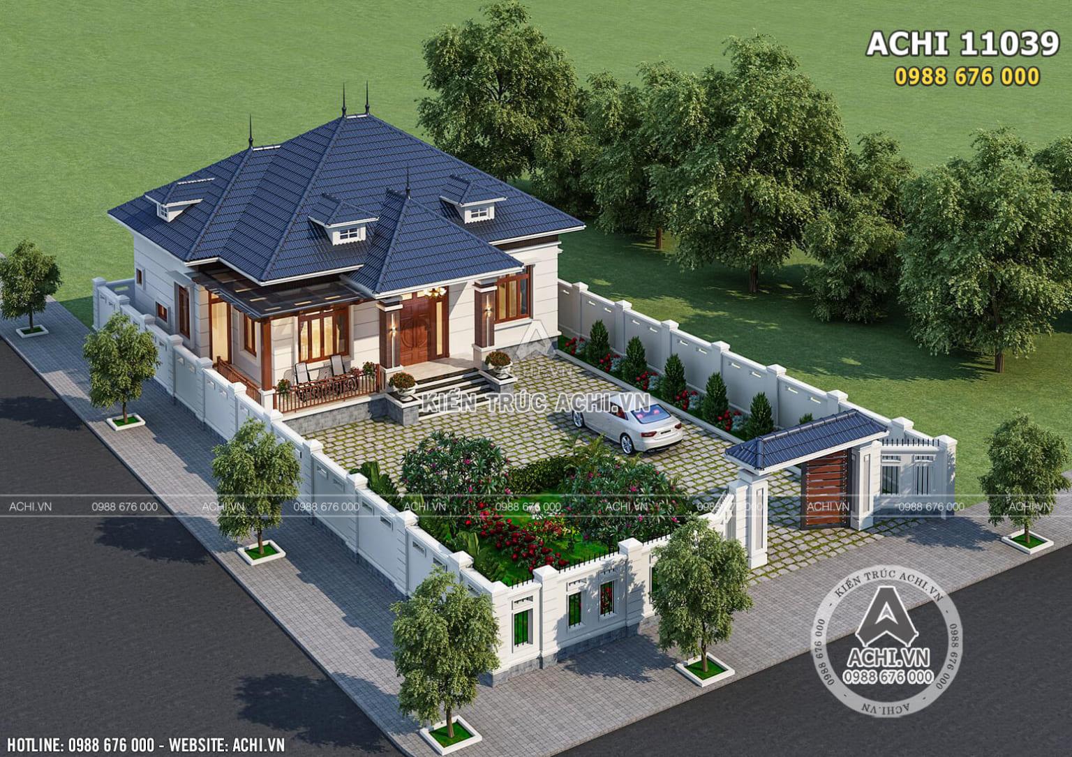 Hình ảnh: Toàn cảnh ngoại thất mẫu biệt thự 1 tầng mái Thái– ACHI 11039