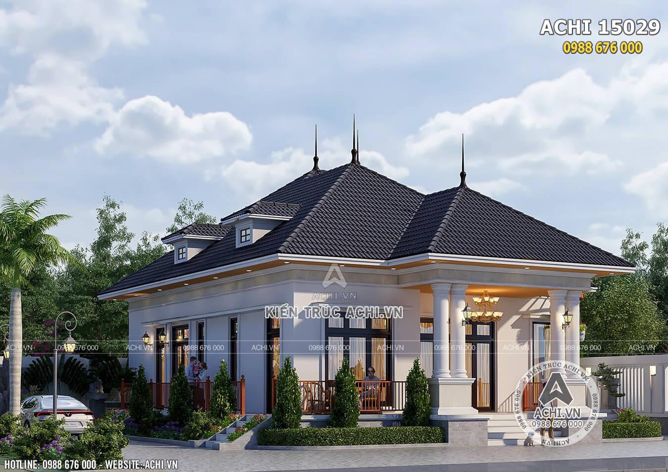 Hình ảnh: Một góc view của mẫu nhà mái thái đẹp– ACHI 15029