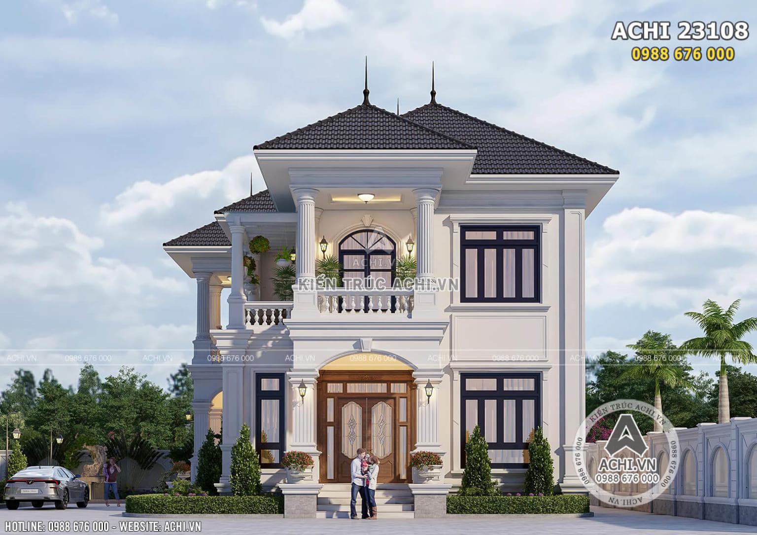 Hình ảnh: Thiết kế biệt thự 2 tầng phong cách tân cổ điển đẹp 150m2 tại Vĩnh Long – ACHI 23108