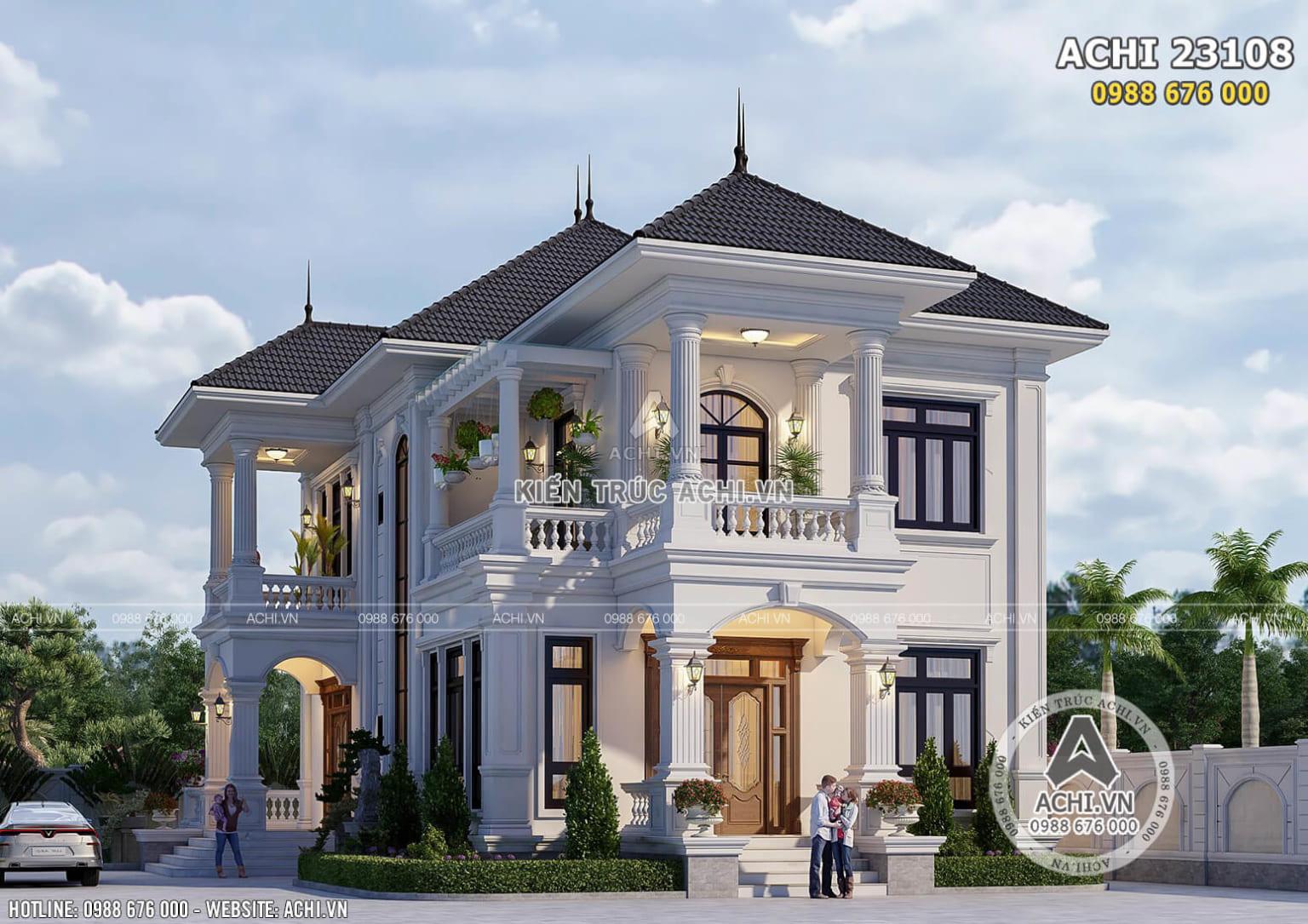 Hình ảnh: Không gian mặt bên của Thiết kế biệt thự 2 tầng phong cách tân cổ điển – ACHI 23108