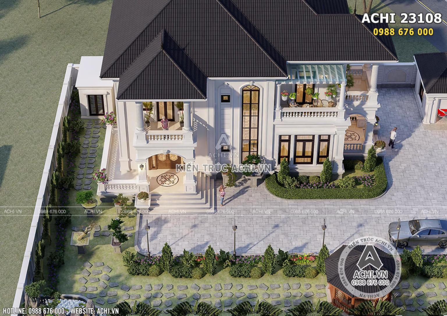 Hình ảnh: Không gian sân vườn của mẫu nhà mái thái– ACHI 23108