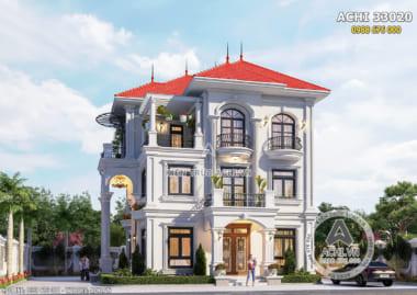 Hình ảnh: Mẫu thiết kế biệt thự 3 tầng đẹp kiến trúc tân cổ điển đẹp – ACHI 33020