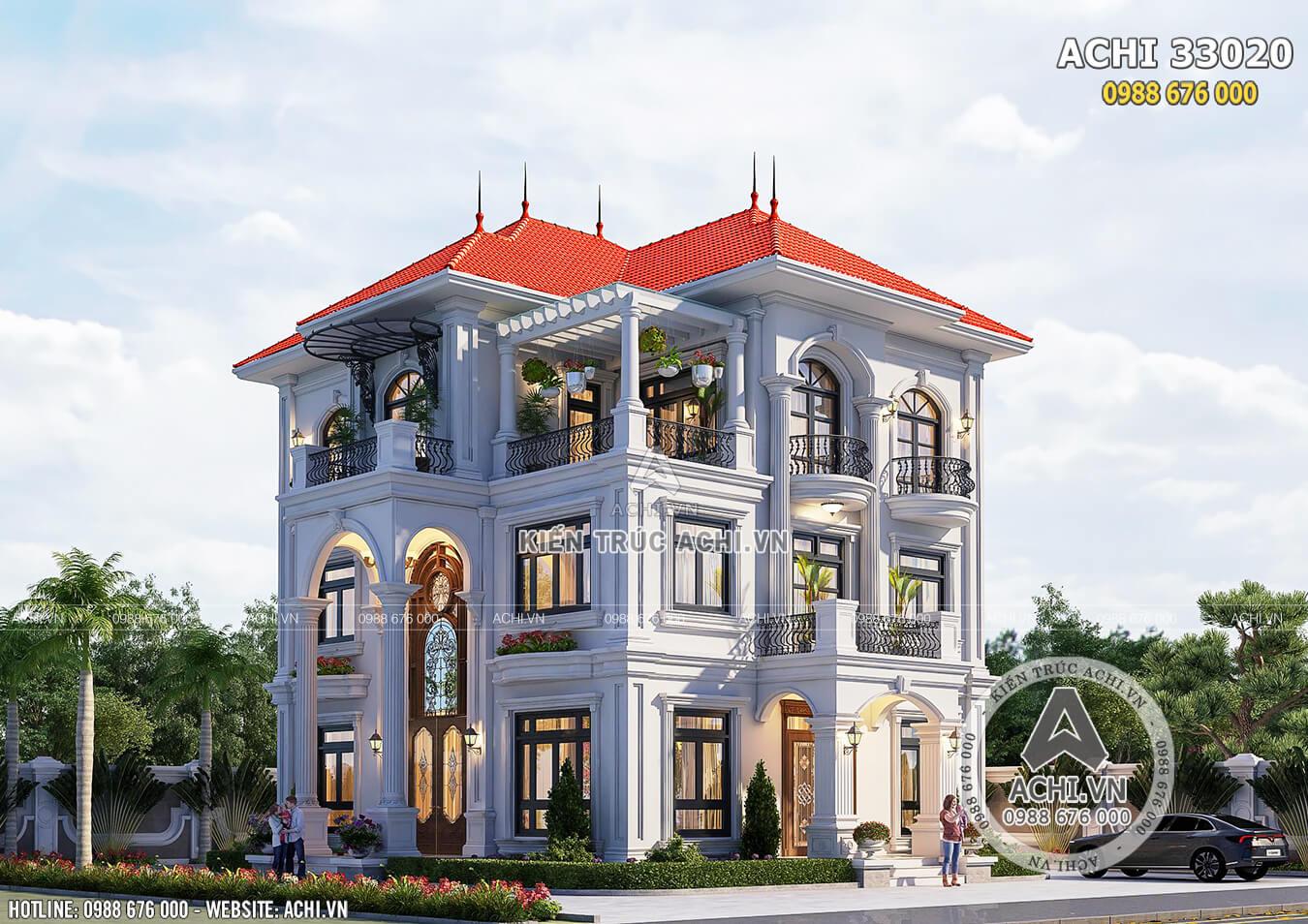 Hình ảnh: Mặt tiền mẫu thiết kế biệt thự 3 tầng đẹp ấn tượng– ACHI 33020