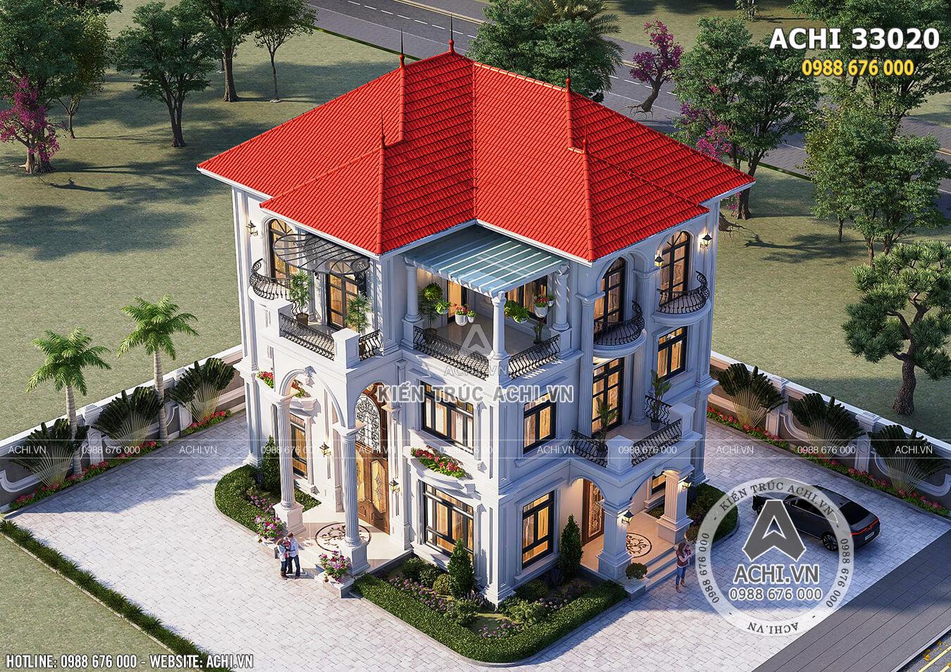 Hình ảnh: Mặt tiền ngôi nhà mái thái kiến trúc tân cổ điển– ACHI 33020