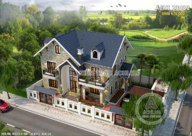Hình ảnh: Mặt tiền đậm chất Châu Âu của mẫu biệt thự nhà vườn 2 tầng mái Thái đẹp – Mã số: ACHI 23032