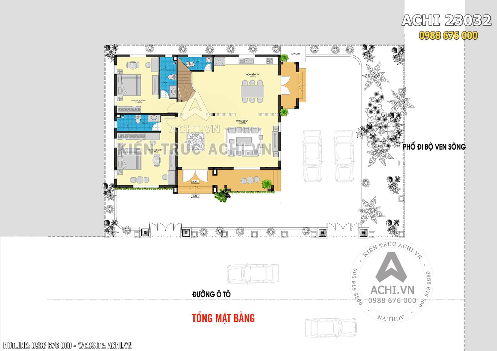 Hình ảnh: Mặt bằng tầng 1 mẫu biệt thự nhà vườn 2 tầng mái thái– Mã số: ACHI 23032