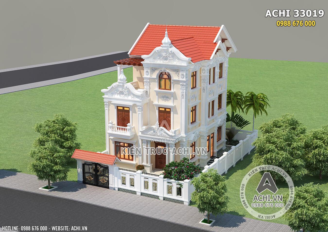 Hình ảnh: Thiết kế biệt thự tân cổ điển nhìn từ trên cao– ACHI 33019