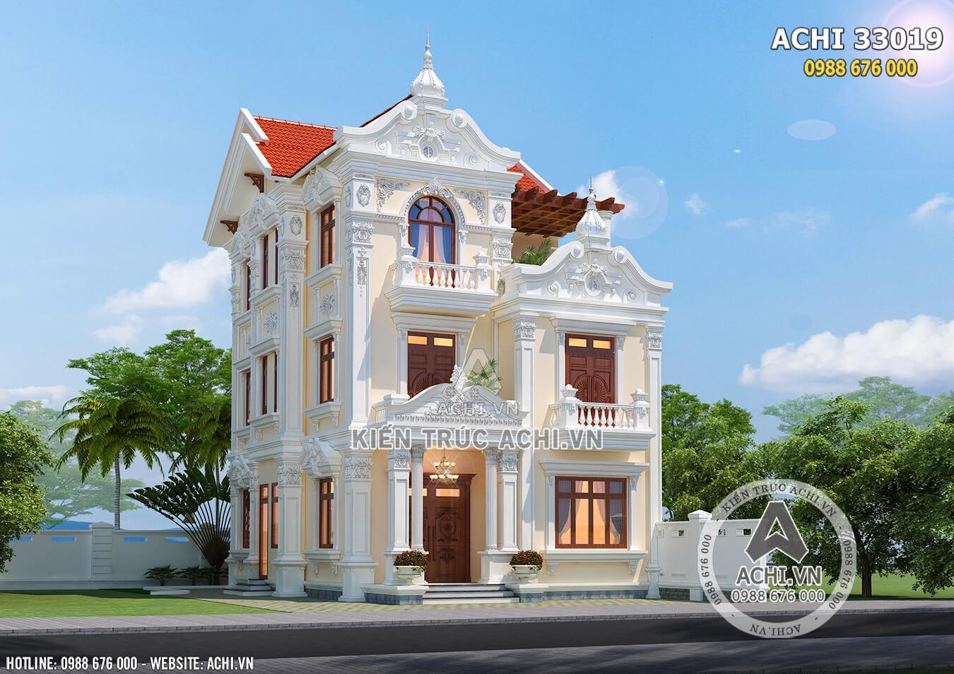 Hình ảnh: Một góc view của mẫu nhà tân cổ điển tại Hà Nội – ACHI 33019