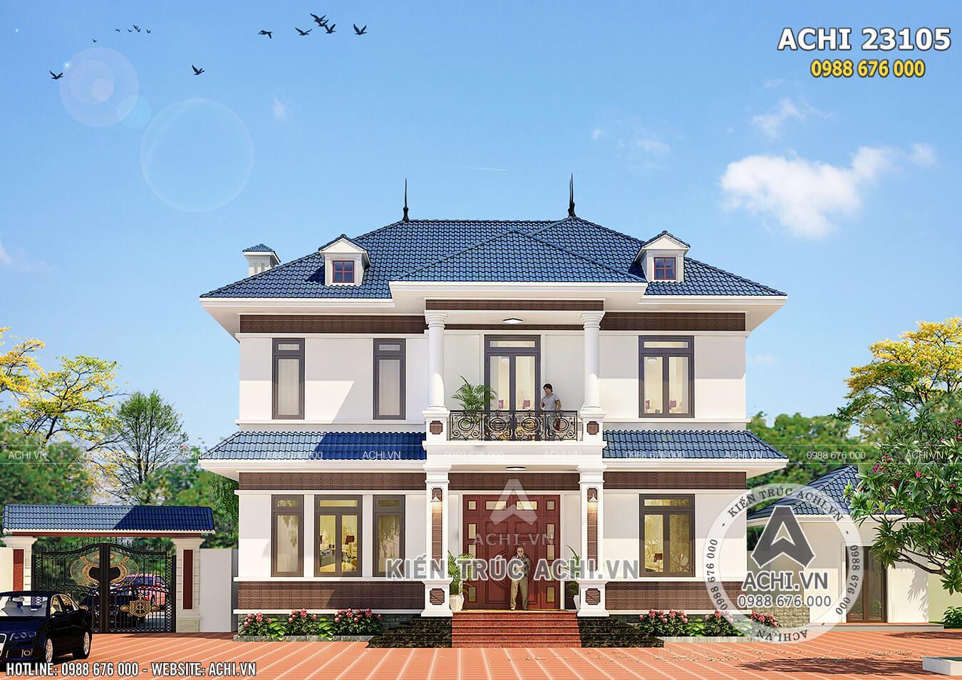 Hình ảnh: Mặt tiền mẫu biệt thự 2 tầng mái Thái đẹp – Mã số: ACHI 23105