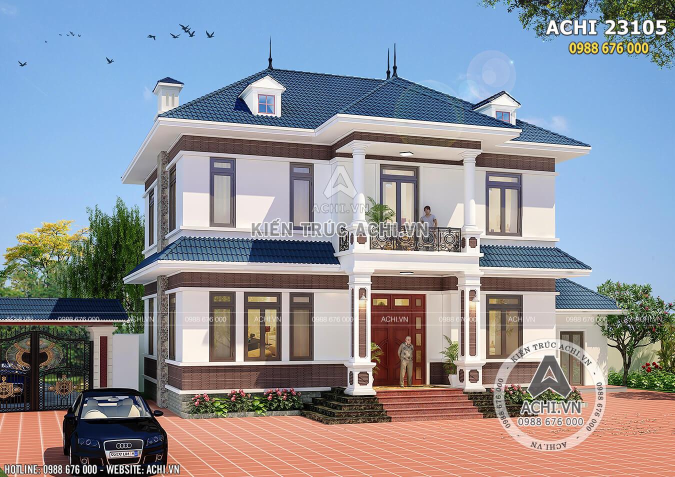 Hình ảnh: Không gian ngoại thất mẫu biệt thự 2 tầng mái Thái đẹp – Mã số: ACHI 23105