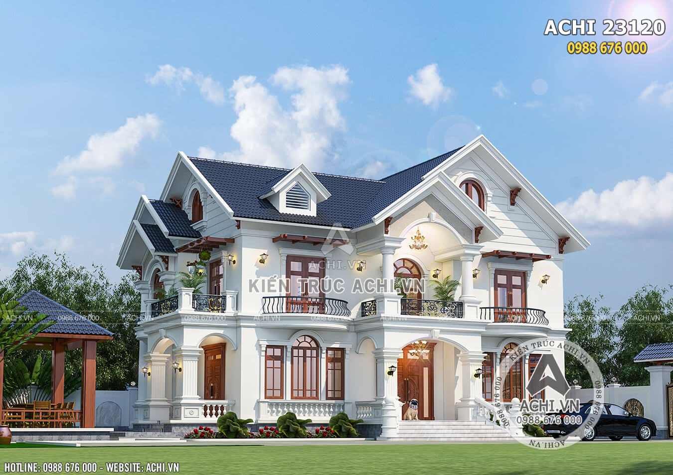 Hình ảnh: Mẫu biệt thự nhà vườn 2 tầng đẹp tại Ninh Thuận – ACHI 23120